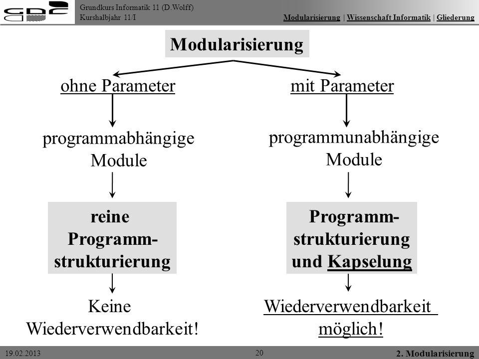 reine Programm- strukturierung Programm- strukturierung und Kapselung
