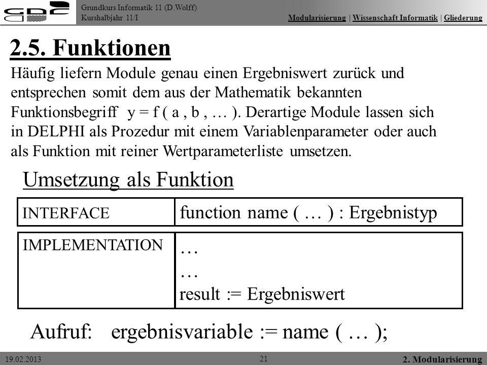 2.5. Funktionen Umsetzung als Funktion