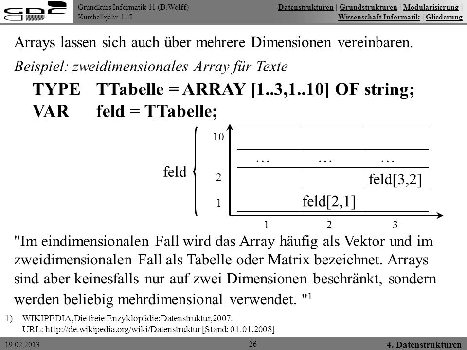 TYPE TTabelle = ARRAY [1..3,1..10] OF string; VAR feld = TTabelle;