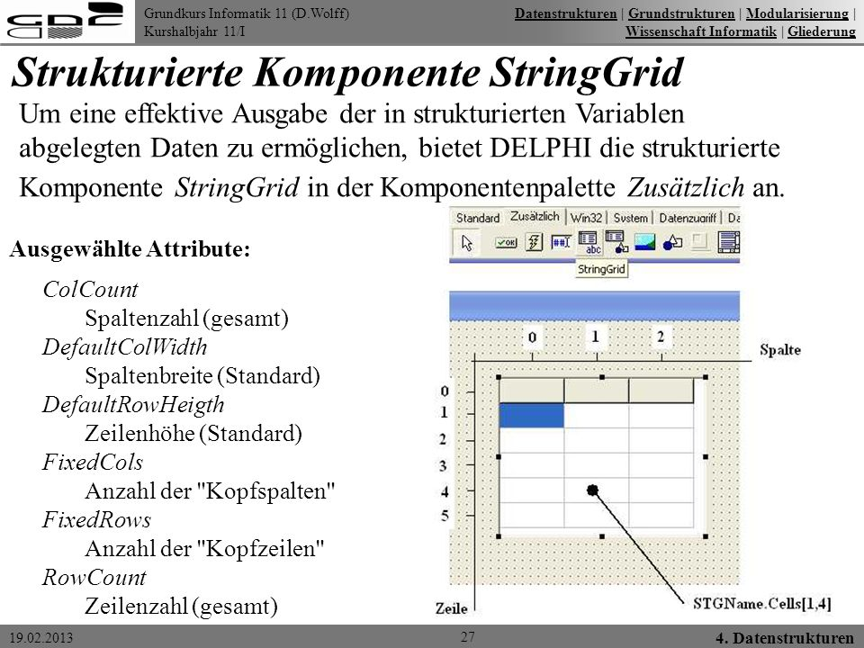 Strukturierte Komponente StringGrid