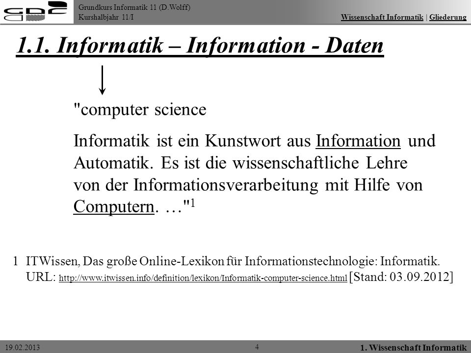 1.1. Informatik – Information - Daten