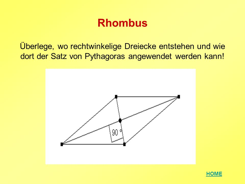 Rhombus Überlege, wo rechtwinkelige Dreiecke entstehen und wie dort der Satz von Pythagoras angewendet werden kann!