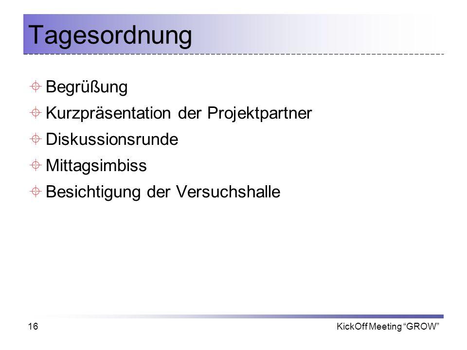 Tagesordnung Begrüßung Kurzpräsentation der Projektpartner