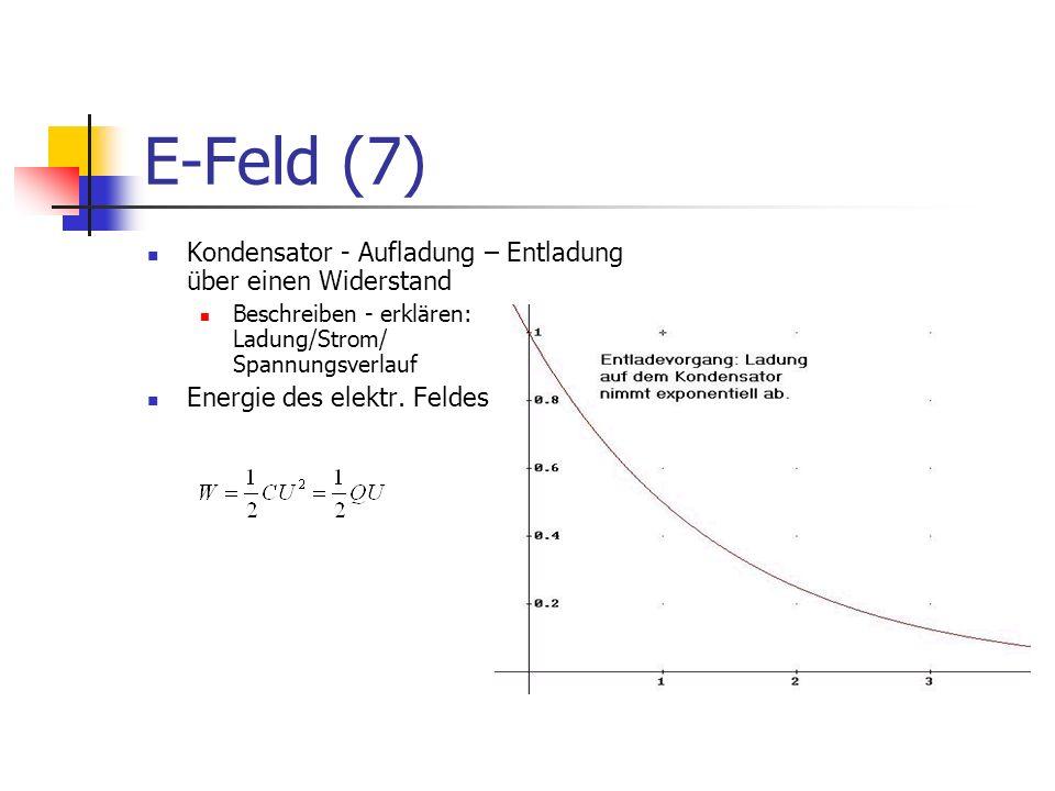 E-Feld (7) Kondensator - Aufladung – Entladung über einen Widerstand