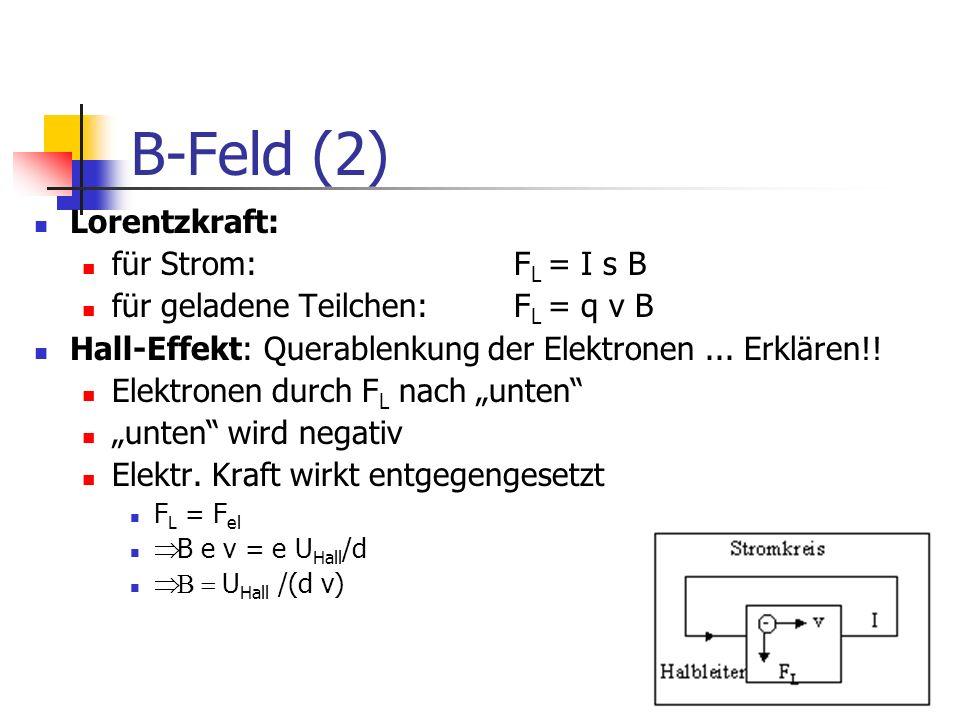 B-Feld (2) Lorentzkraft: für Strom: FL = I s B