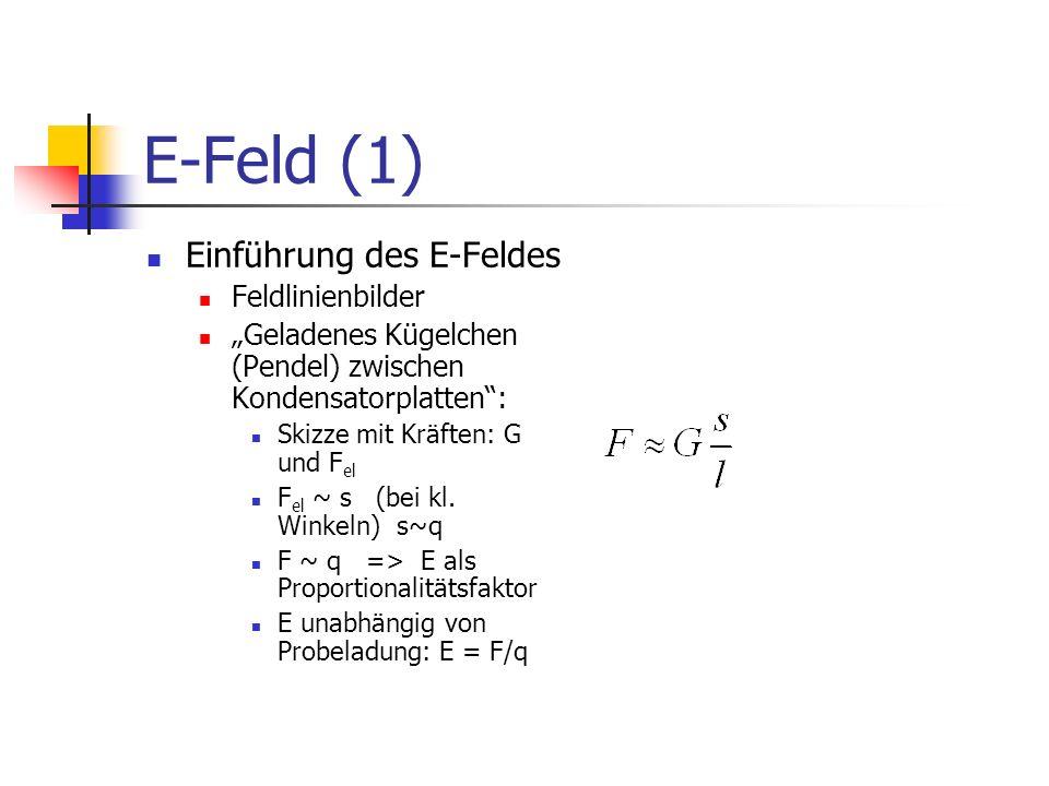 E-Feld (1) Einführung des E-Feldes Feldlinienbilder