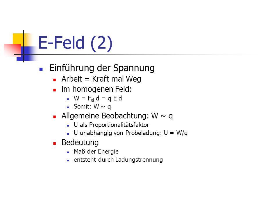 E-Feld (2) Einführung der Spannung Arbeit = Kraft mal Weg