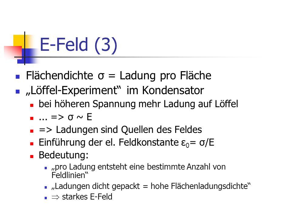 E-Feld (3) Flächendichte σ = Ladung pro Fläche
