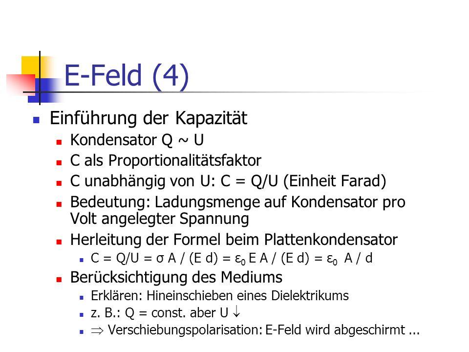 E-Feld (4) Einführung der Kapazität Kondensator Q ~ U