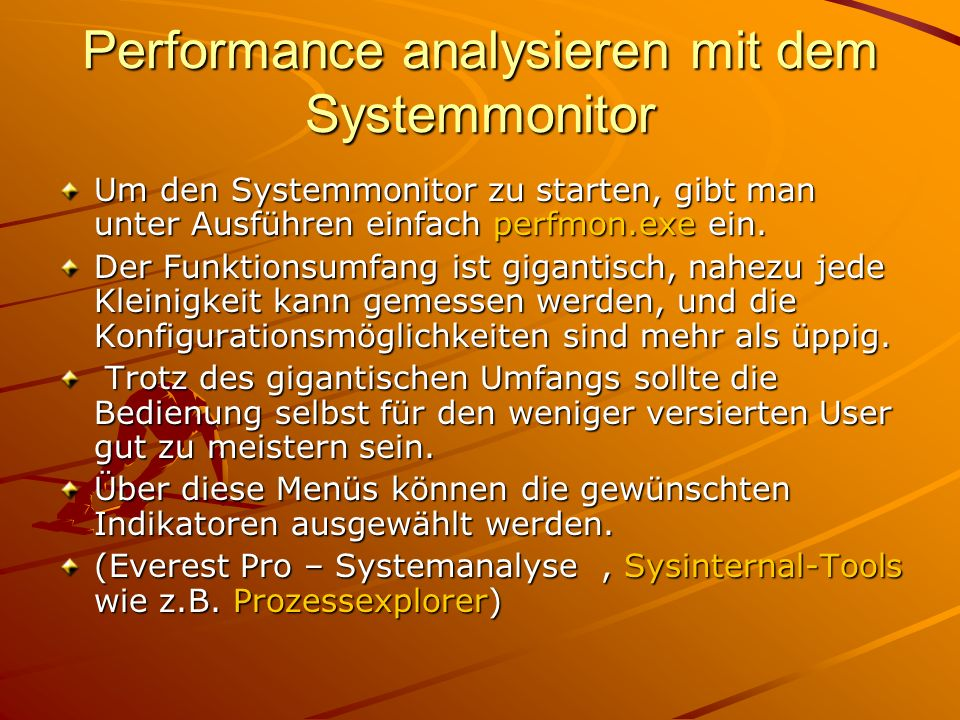 Performance analysieren mit dem Systemmonitor