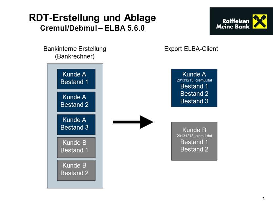 RDT-Erstellung und Ablage Cremul/Debmul – ELBA 5.6.0