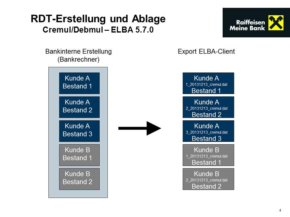 RDT-Erstellung und Ablage Cremul/Debmul – ELBA 5.7.0