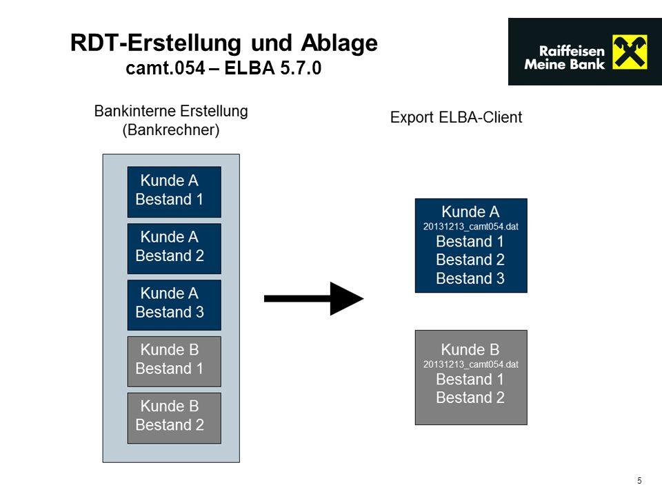 RDT-Erstellung und Ablage camt.054 – ELBA 5.7.0
