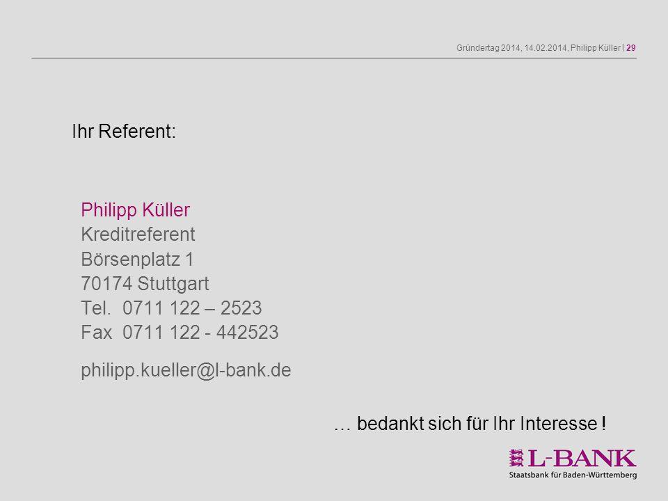 Ihr Referent: Philipp Küller Kreditreferent Börsenplatz 1 70174 Stuttgart Tel. 0711 122 – 2523 Fax 0711 122 - 442523.