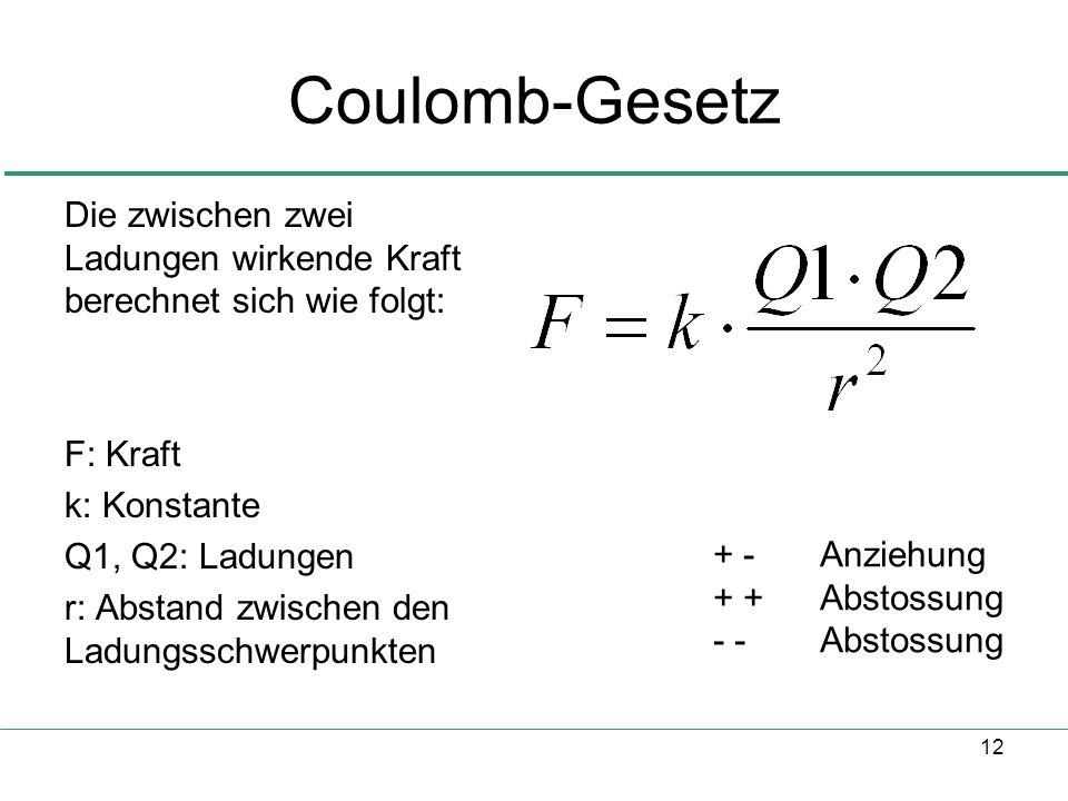 Coulomb-Gesetz Die zwischen zwei Ladungen wirkende Kraft berechnet sich wie folgt: F: Kraft. k: Konstante.