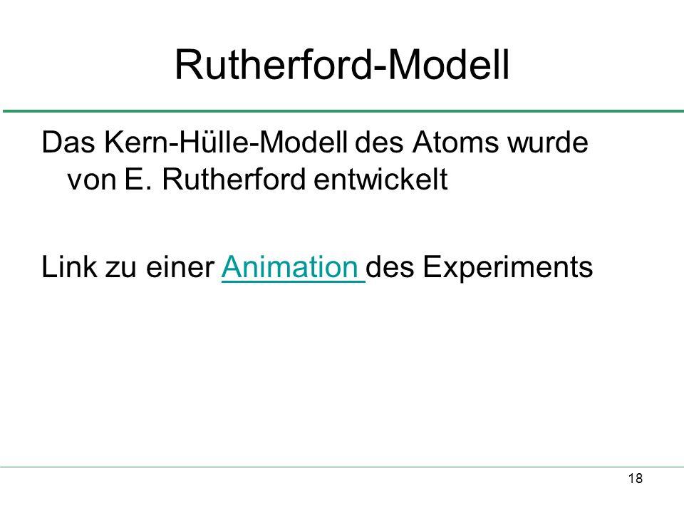 Rutherford-Modell Das Kern-Hülle-Modell des Atoms wurde von E.