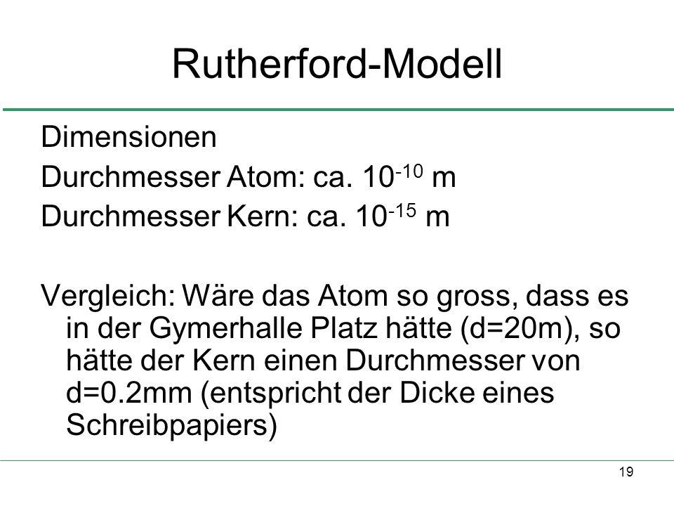 Rutherford-Modell Dimensionen Durchmesser Atom: ca. 10-10 m