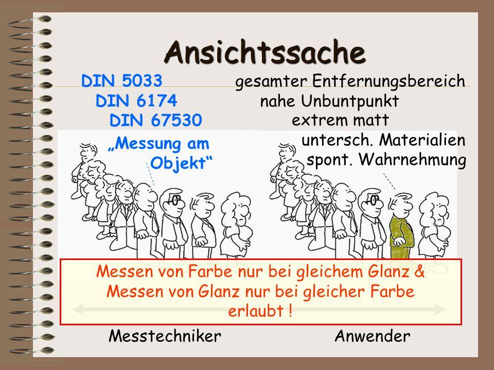 Ansichtssache DIN 5033 DIN 6174 DIN 67530 gesamter Entfernungsbereich