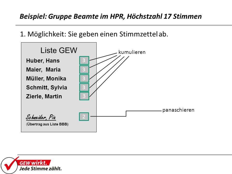 Beispiel: Gruppe Beamte im HPR, Höchstzahl 17 Stimmen