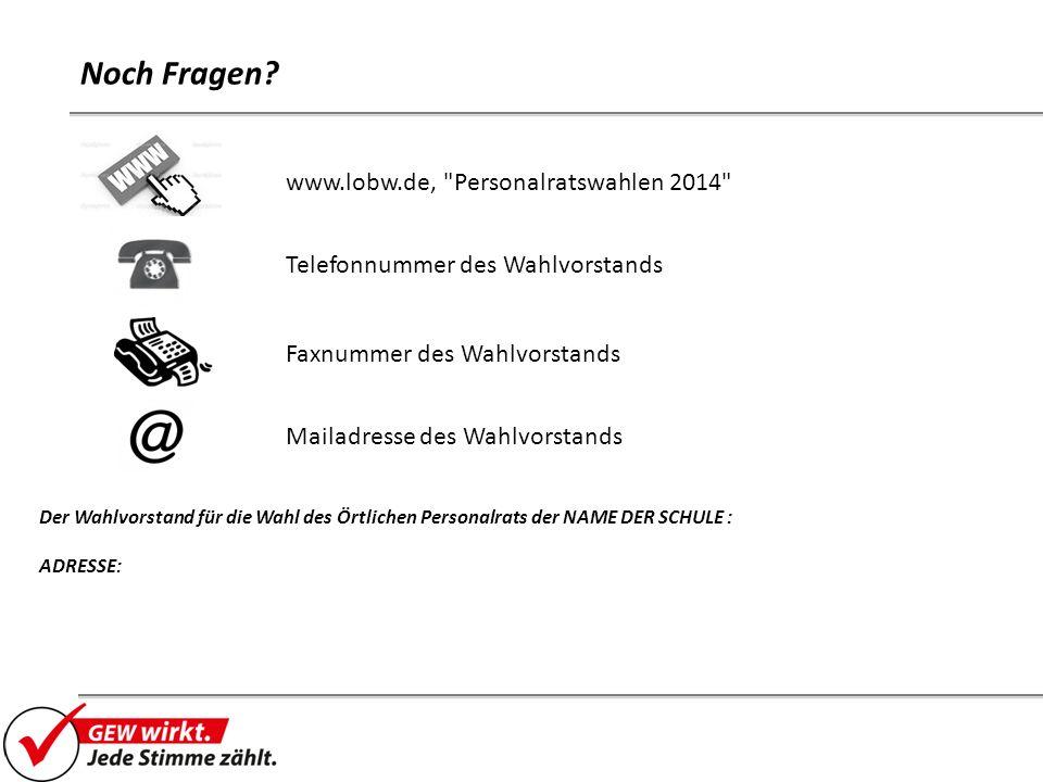 Noch Fragen www.lobw.de, Personalratswahlen 2014