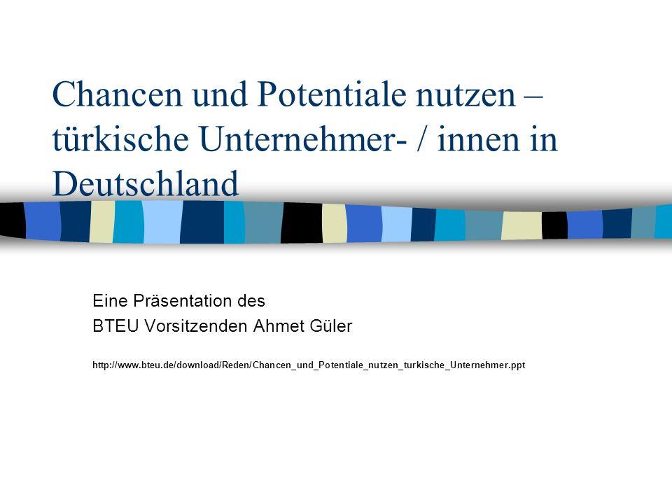 Chancen und Potentiale nutzen – türkische Unternehmer- / innen in Deutschland