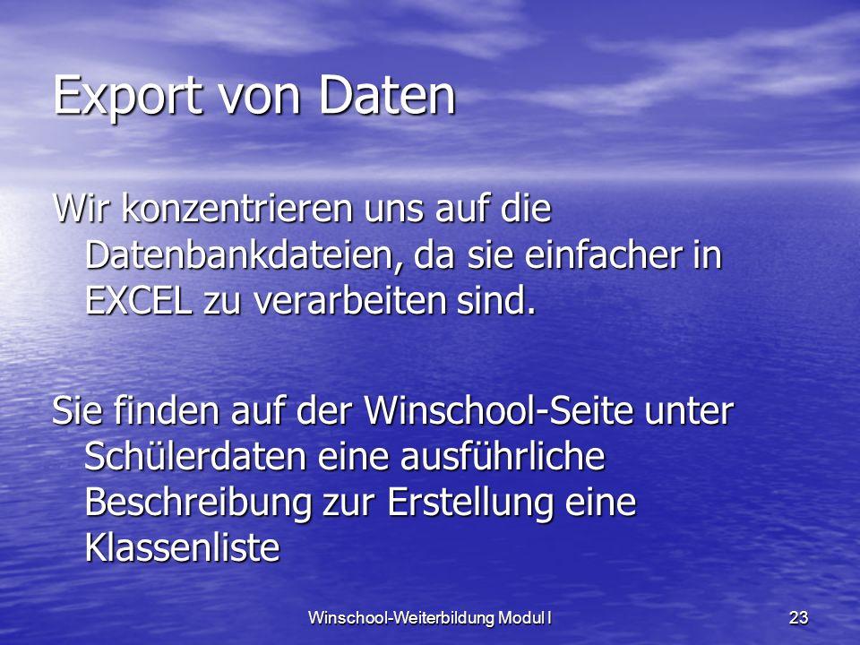 Winschool-Weiterbildung Modul I