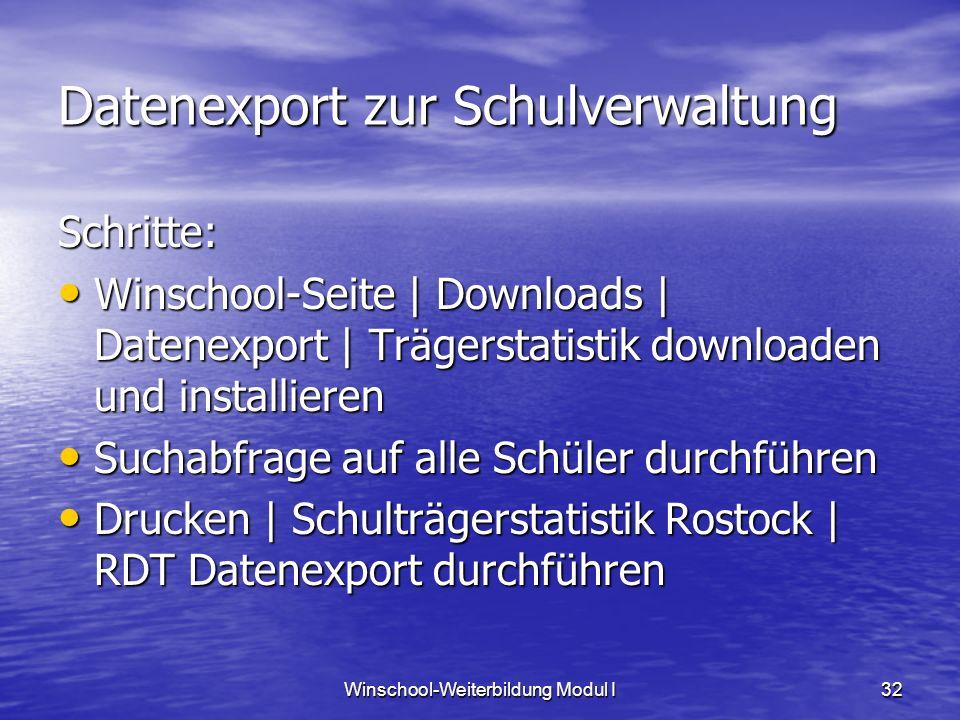 Datenexport zur Schulverwaltung