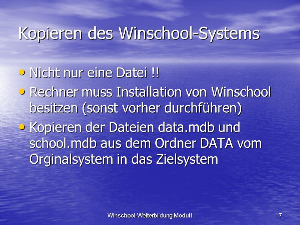 Kopieren des Winschool-Systems