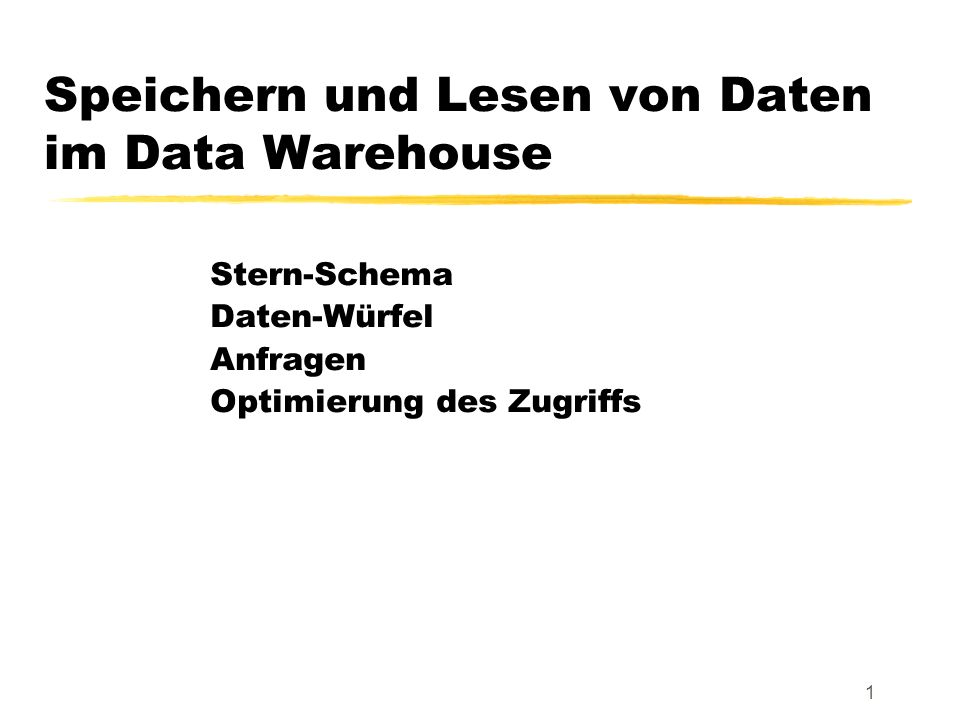 Speichern und Lesen von Daten im Data Warehouse