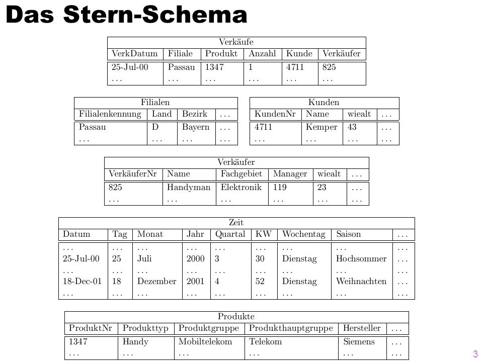 Das Stern-Schema Data Warehouses