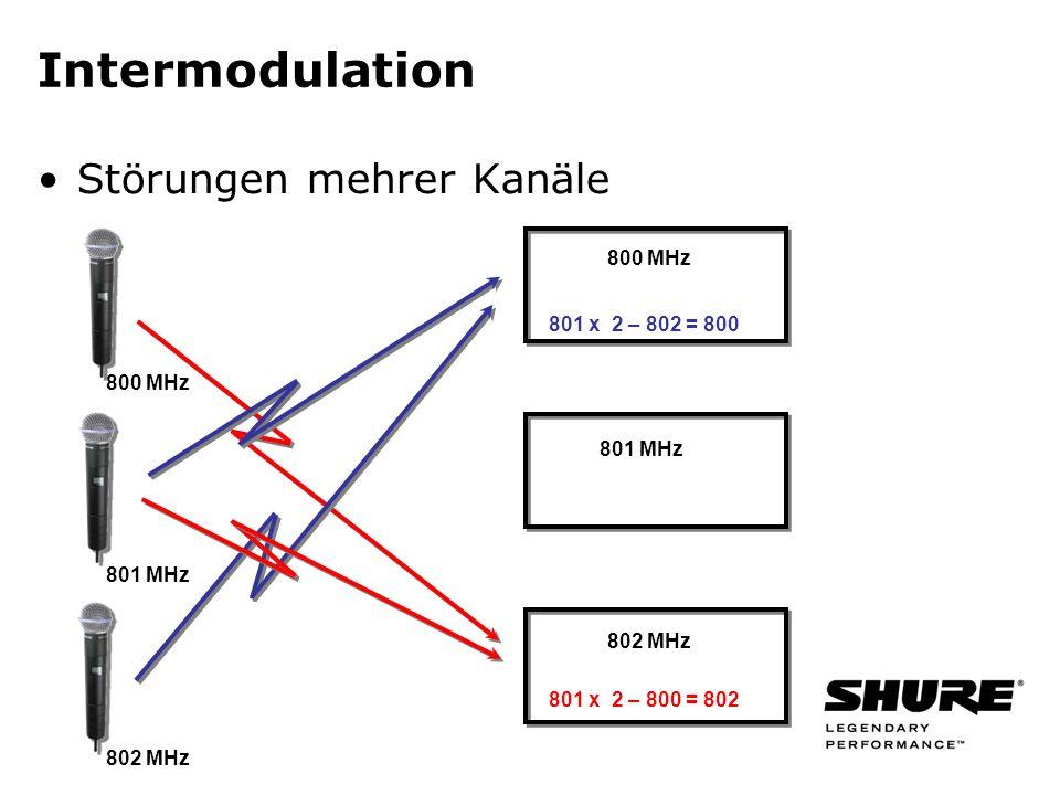 Intermodulation Störungen mehrer Kanäle 801 x 2 – 802 = 800 800 MHz