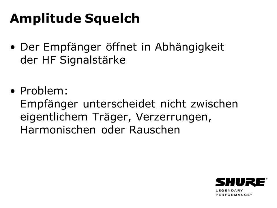 Amplitude Squelch Der Empfänger öffnet in Abhängigkeit der HF Signalstärke.