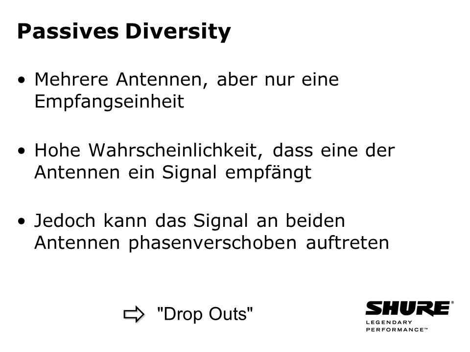  Passives Diversity Mehrere Antennen, aber nur eine Empfangseinheit