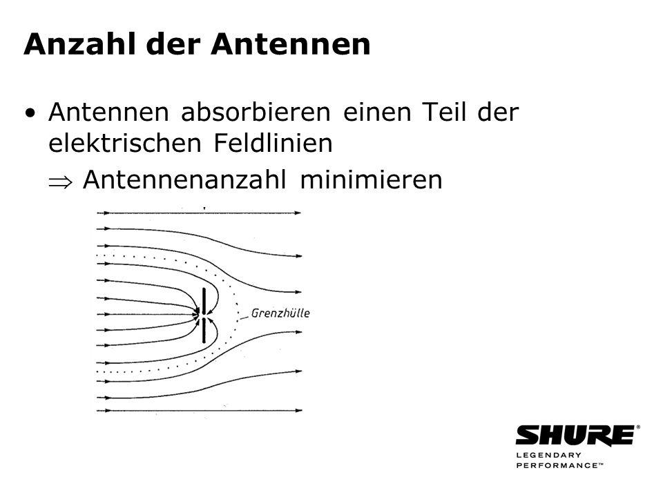 Anzahl der Antennen Antennen absorbieren einen Teil der elektrischen Feldlinien.