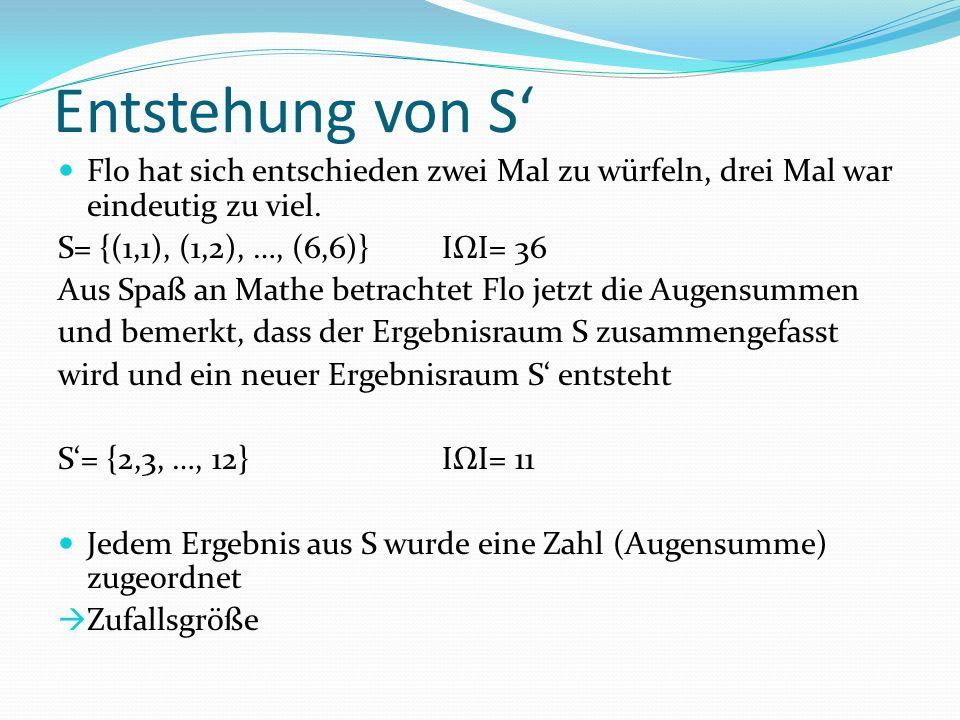 Entstehung von S' Flo hat sich entschieden zwei Mal zu würfeln, drei Mal war eindeutig zu viel. S= {(1,1), (1,2), …, (6,6)} IΩI= 36.