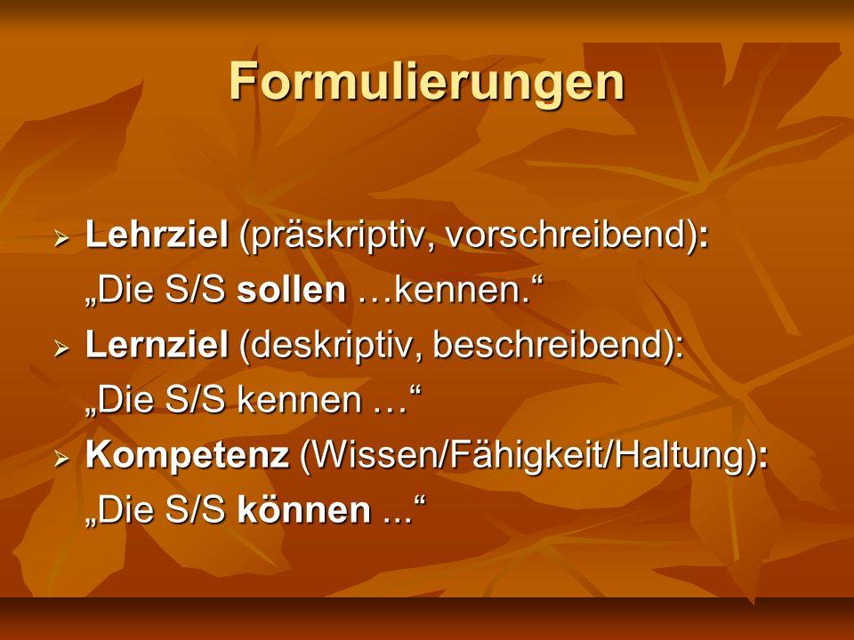 Formulierungen Lehrziel (präskriptiv, vorschreibend):