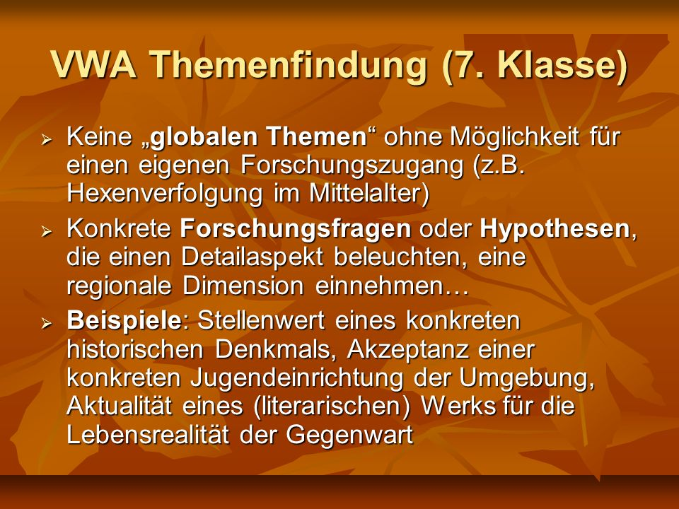 VWA Themenfindung (7. Klasse)