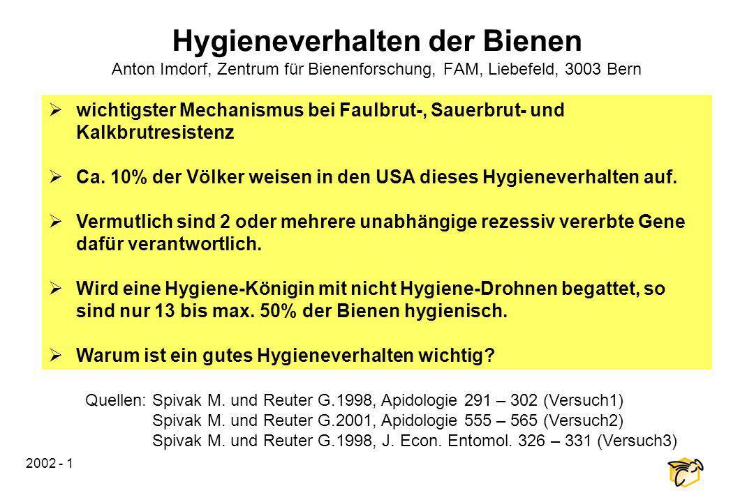 Hygieneverhalten der Bienen Anton Imdorf, Zentrum für Bienenforschung, FAM, Liebefeld, 3003 Bern
