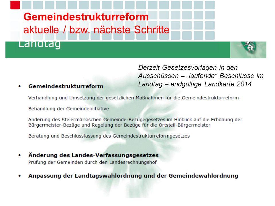 Gemeindestrukturreform aktuelle / bzw. nächste Schritte