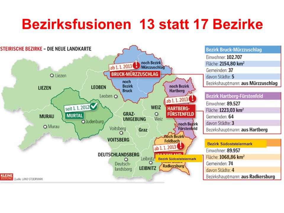 Bezirksfusionen 13 statt 17 Bezirke