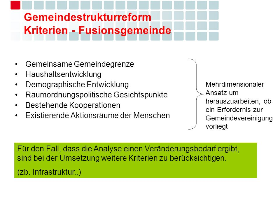 Gemeindestrukturreform Kriterien - Fusionsgemeinde