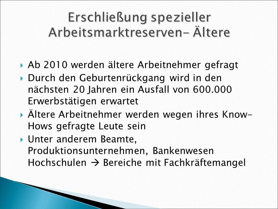 Erschließung spezieller Arbeitsmarktreserven- Ältere