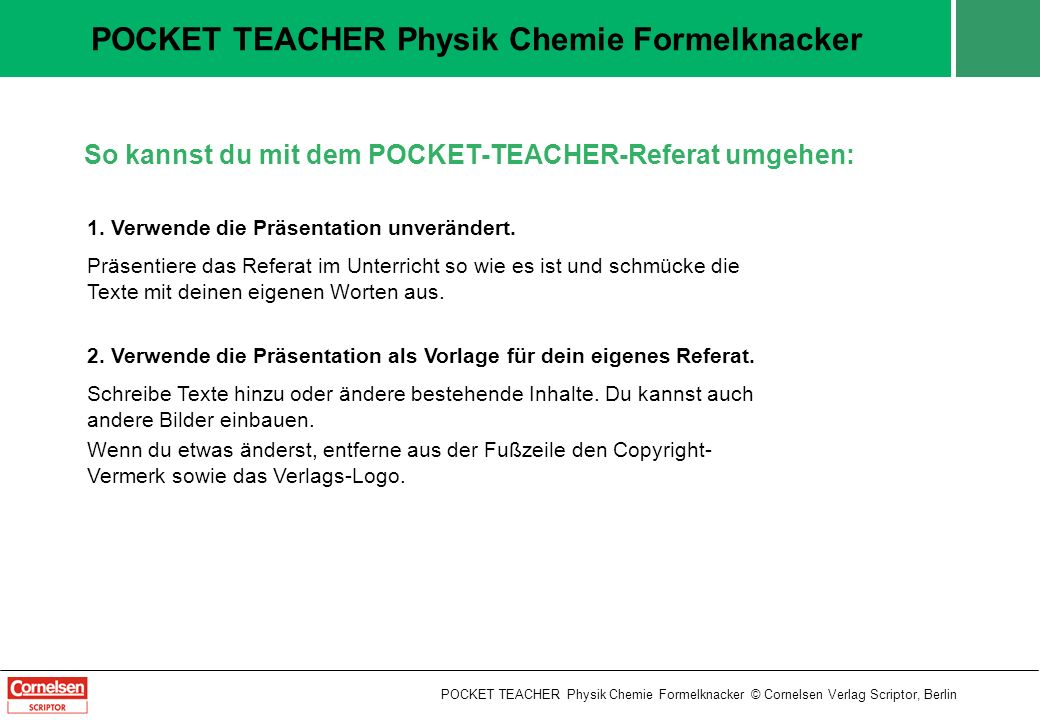 POCKET TEACHER Physik Chemie Formelknacker