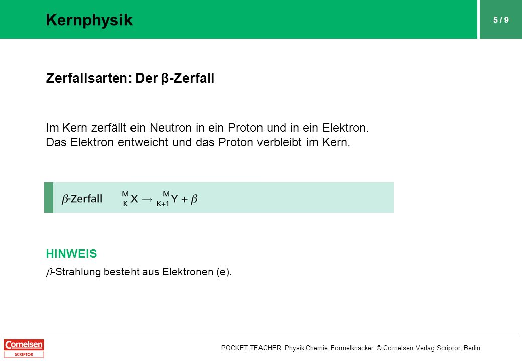 Kernphysik Zerfallsarten: Der β-Zerfall