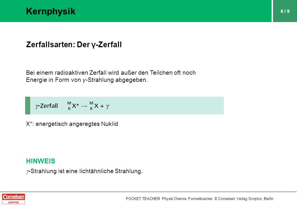 Kernphysik Zerfallsarten: Der γ-Zerfall HINWEIS