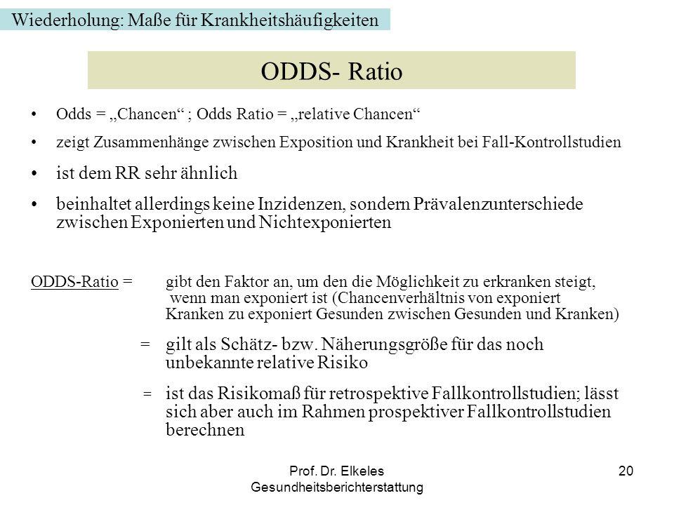 ODDS- Ratio Wiederholung: Maße für Krankheitshäufigkeiten