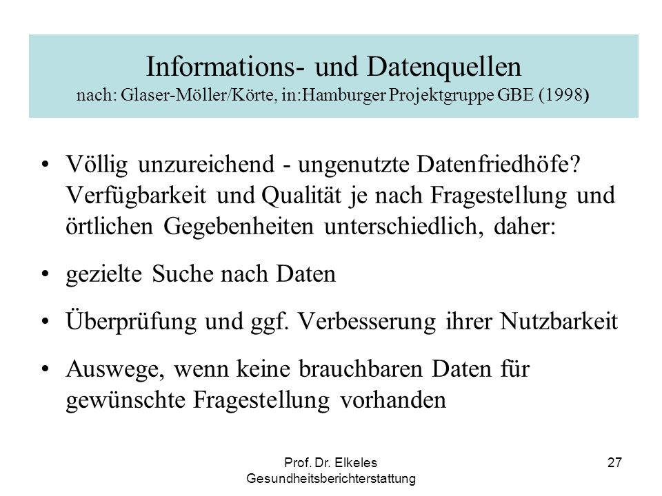 Prof. Dr. Elkeles Gesundheitsberichterstattung