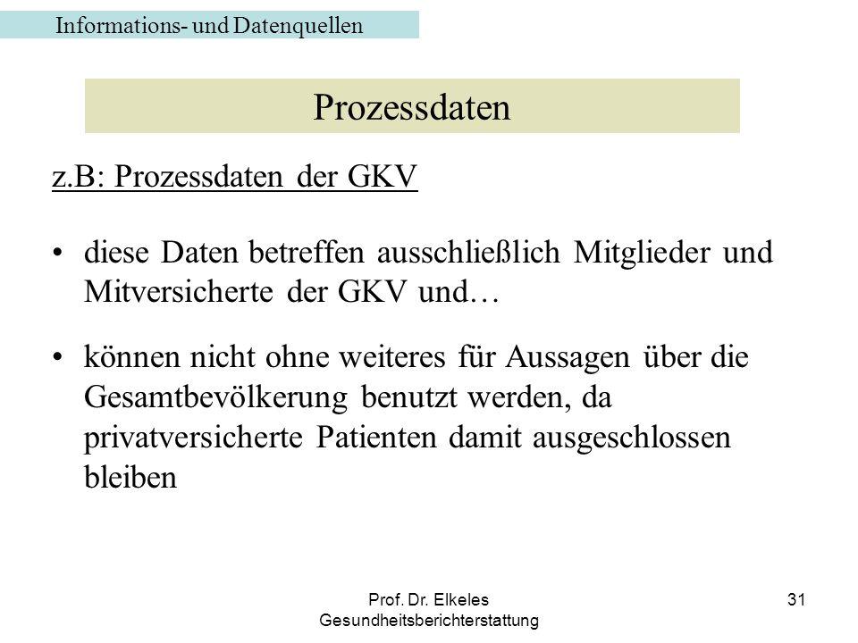 Prozessdaten z.B: Prozessdaten der GKV