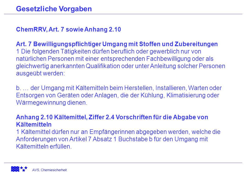 Gesetzliche Vorgaben ChemRRV, Art. 7 sowie Anhang 2.10