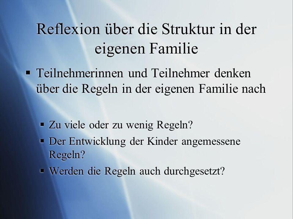 Reflexion über die Struktur in der eigenen Familie